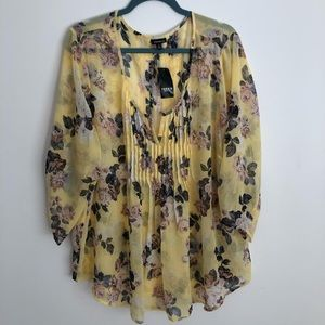 NWT Torrid Sheer Floral Long Sleeve Blouse